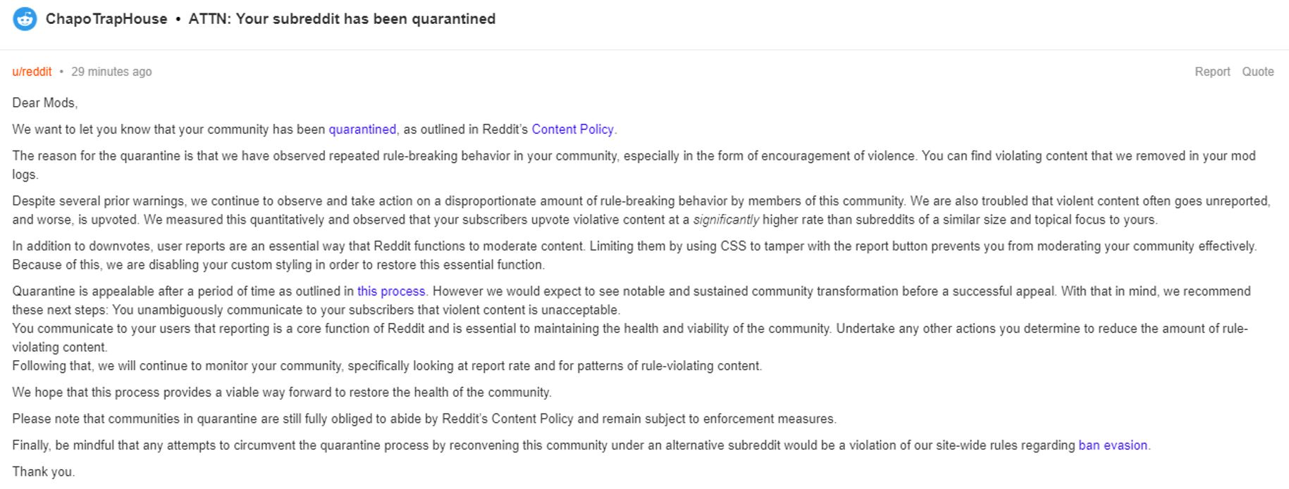 "Chapo Trap House's Reddit Community ""Quarantined"" After CRC Film"
