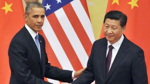 BEIJING, China - Chinese President Xi Jinping (R) and U.S. President Barack Obama attend a joint press conference in Beijing on Nov. 12, 2014, following their meeting. They agreed to reduce the risk of military conflict and combat climate change. (Kyodo)
