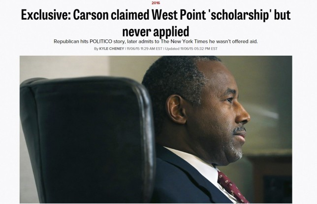 sja deception blog Ben Carson revised headline in Politico 151109