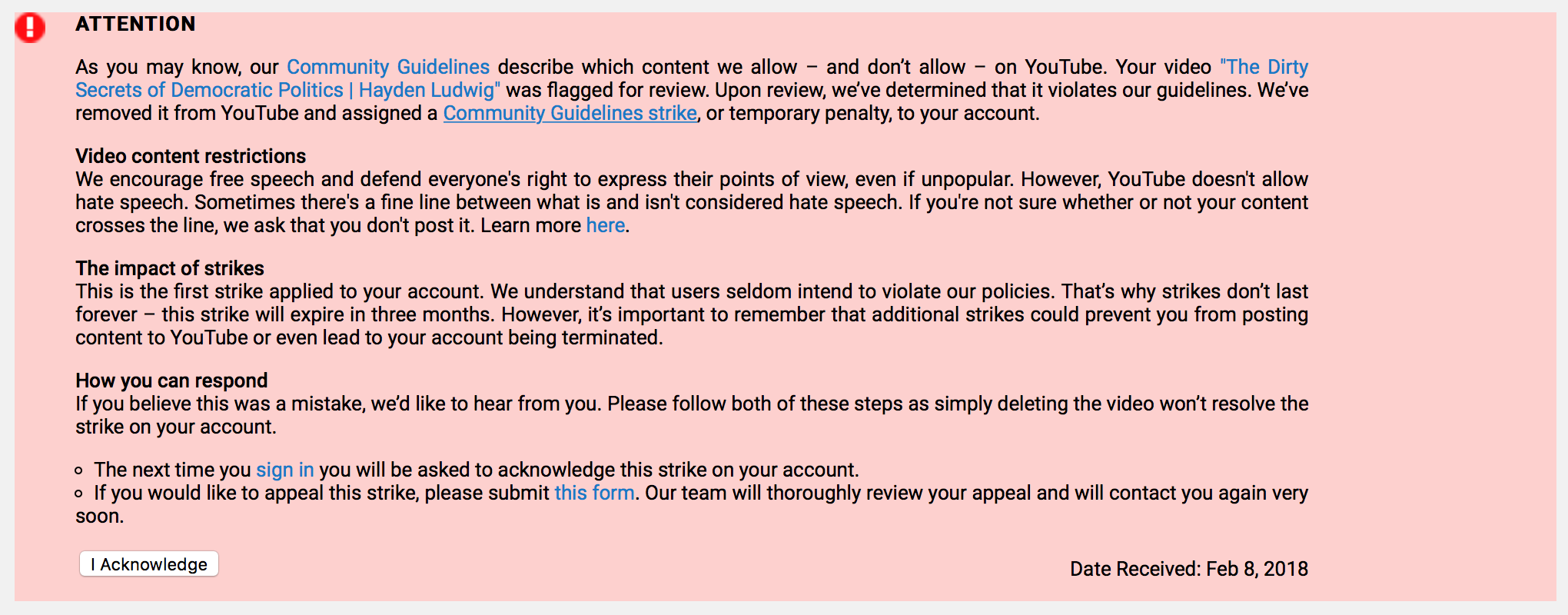 Youtube tried to censor us capital research center in less than 6 hours our videowhich contains no hate speech or other violations of youtubes community guidelines of any kind and even used footage biocorpaavc Images